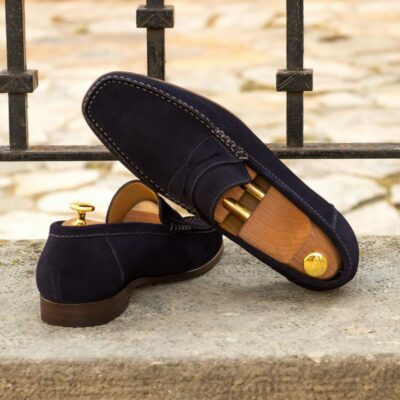 Custom Moccasin Loafer in Navy Blue Suede