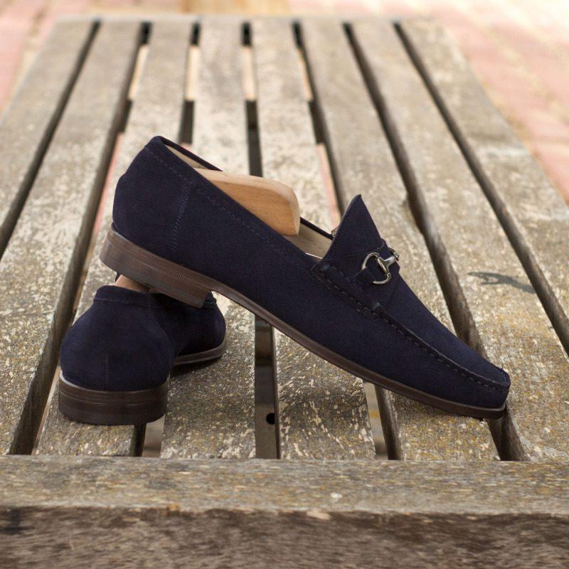 Custom Moccasin Loafer in Navy Blue Suede