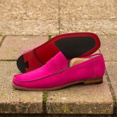 Custom Moccasin Loafer in Pink Suede