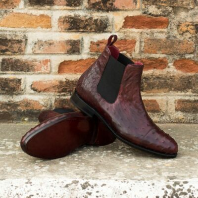 Custom Made Goodyear Welted Chelsea Boot Classic in Burgundy Genuine Ostrich