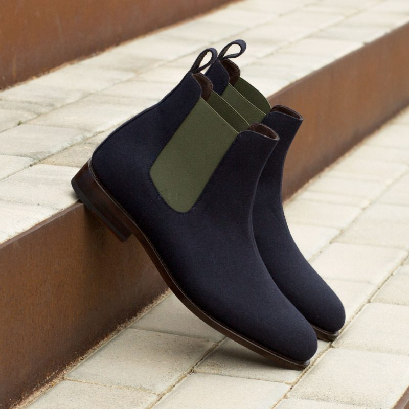 Custom Made Goodyear Welted Chelsea Boot Classic in Navy Blue Flannel