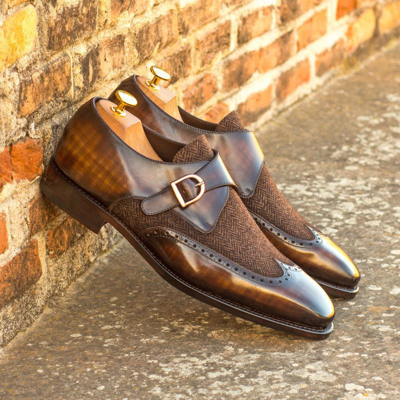 Custom Made Goodyear Welted Single Monks in Raw Crust Italian Calf Leather with a Brown Hand Patina and Herringbone