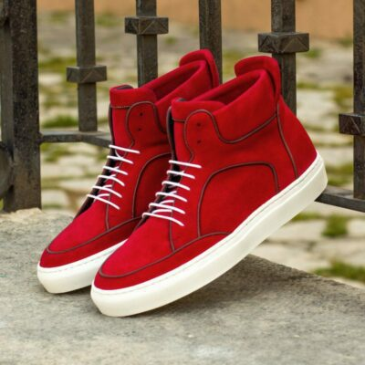 Custom Made High Top Multi in Red Kid Suede with Burgundy Painted Calf