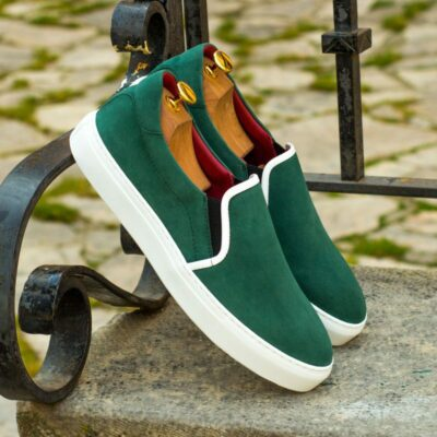 Custom Made Slip On in Forest Green Kid Suede with White Box Calf
