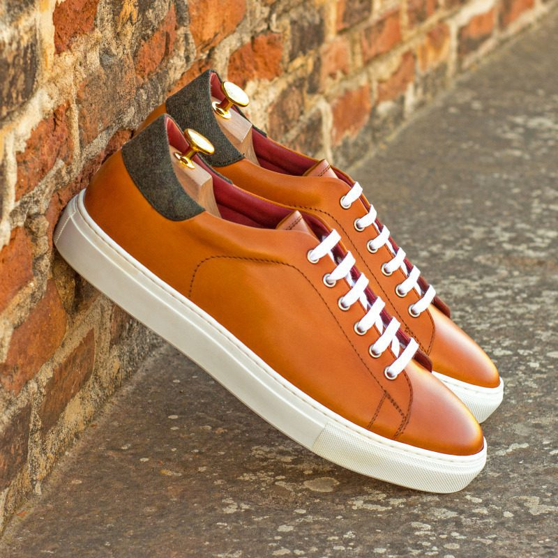 Custom Made Trainers in Cognac Painted Calf Leather with Camo Flannel