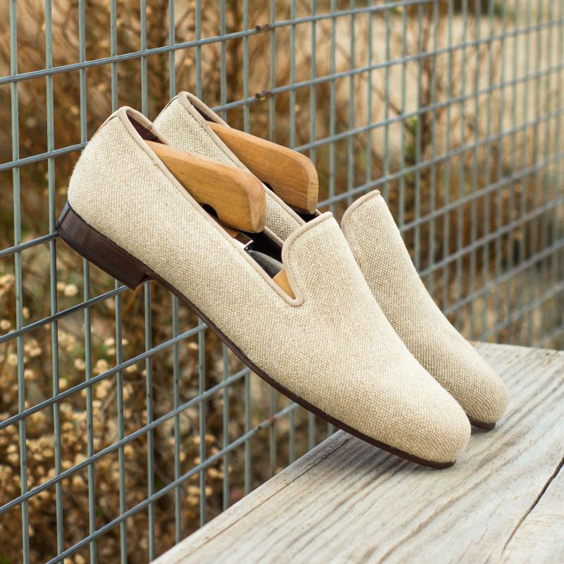 Custom Made Wellington Slippers in Ice Linen with Ivory Kid Suede