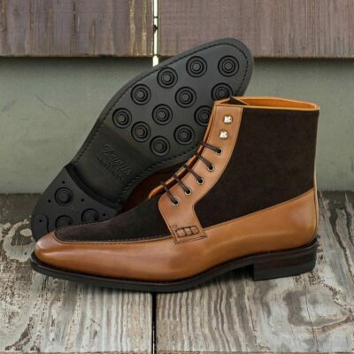 Custom Goodyear Welt Moc Boot in Dark Brown Luxe Suede and Cognac Box Calf