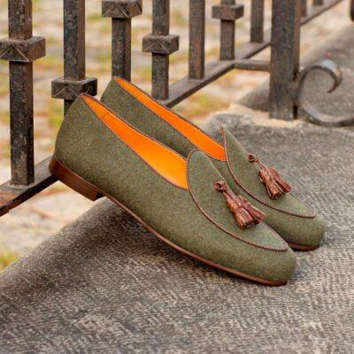 Custom Made Belgian Slippers in Green Flannel with Brown Croco Tassels