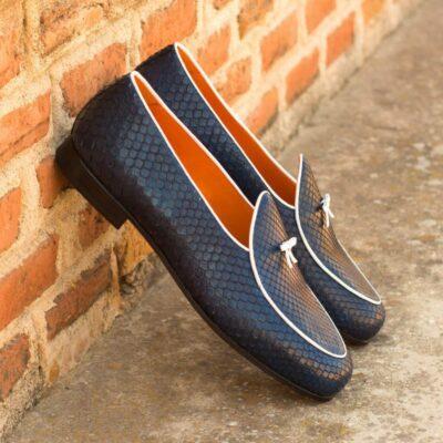 Custom Made Belgian Slippers in Navy Blue Genuine Python