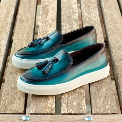 Custom Made Belgian Sneaker in Italian Raw Crust Leather with a Turquoise and Denim Blue Hand Patina