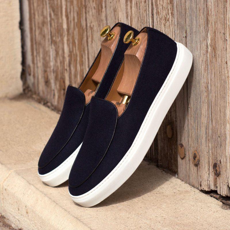 Custom Made Belgian Sneaker in Navy Blue Flannel with Black Box Calf