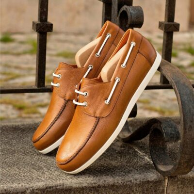 Custom Made Boat Shoe in Cognac and Medium Brown Painted Full Grain Leather