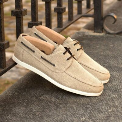 Custom Made Boat Shoe in Ice Linen