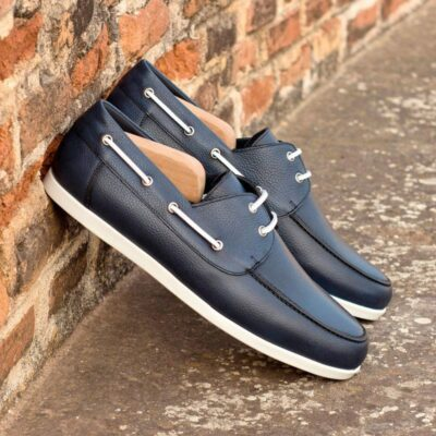 Custom Made Boat Shoe in Navy Blue Painted Full Grain Leather