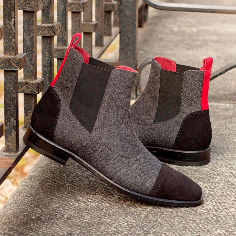 Custom Made Chelsea Boot Multi in Dark Grey Flannel with Black and Red Suede