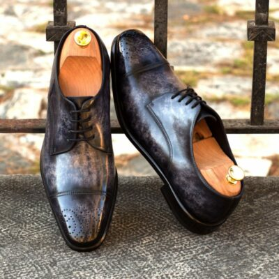 Custom Made Derby in Italian Raw Crust Leather with a Denim Blue Hand Patina Finish and Black Croco