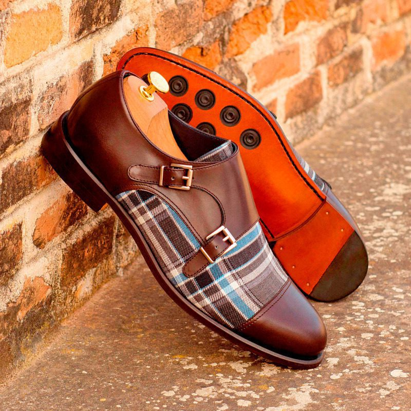 Custom Made Double Monks in Dark Brown Box Calf and Plaid