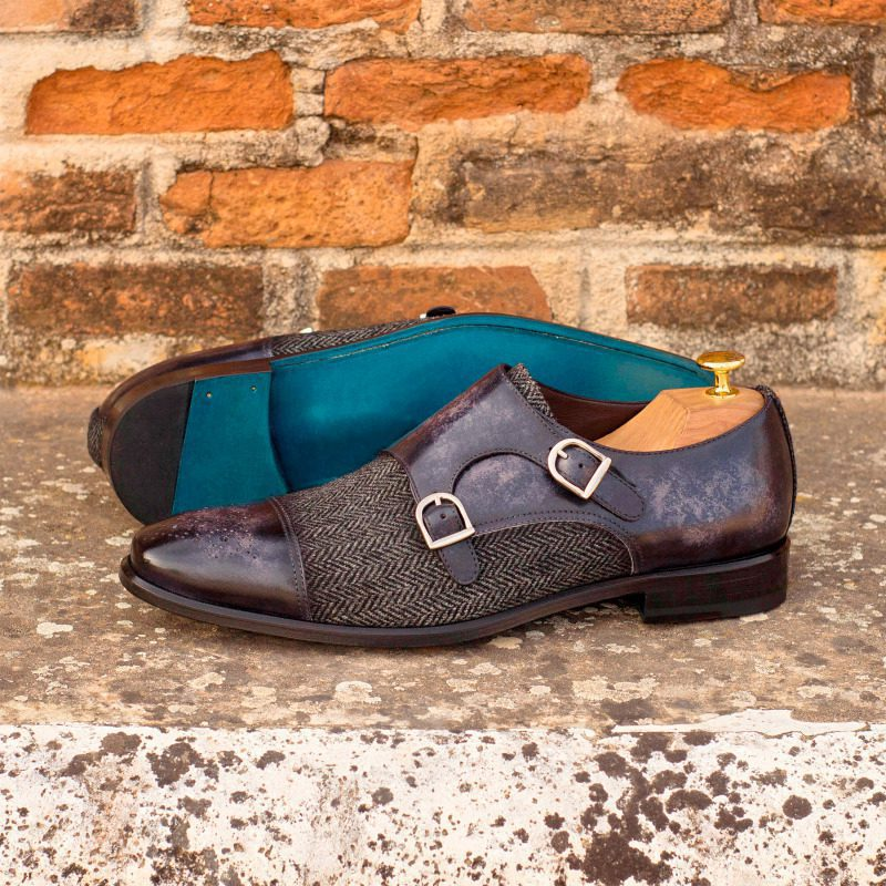 Custom Made Double Monks in Italian Raw Crust Leather with a Grey Hand Patina with Herringbone