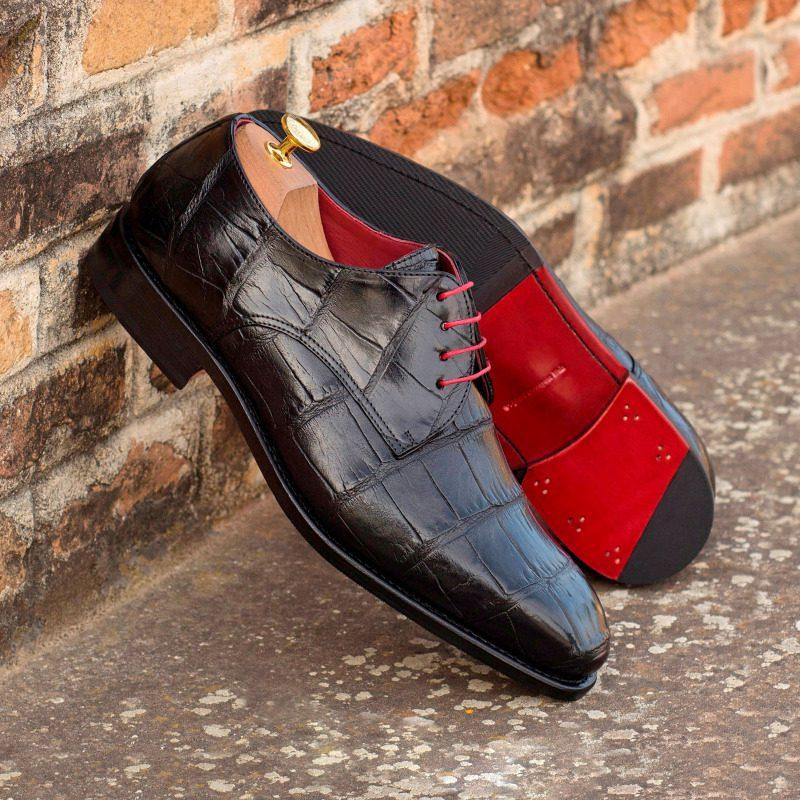 Custom Made Goodyear Welt Derby in Black Genuine Alligator