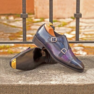 Custom Made Goodyear Welt Double Monks in Italian Raw Crust Leather with a Purple and Denim Blue Hand Patina Featuring Metal Toe Taps