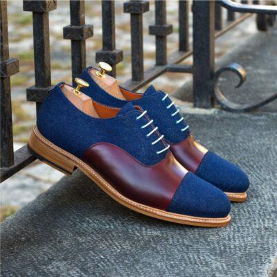 Custom Made Goodyear Welt Oxford in Burgundy Box Calf with Denim Jeans