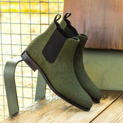 Custom Made Goodyear Welted Chelsea Boot Classic in Green Flannel with Black Croco Embossed Calf
