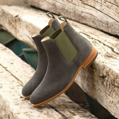 Custom Made Goodyear Welted Chelsea Boot Classic in Grey Luxe Suede with Camo Flannel