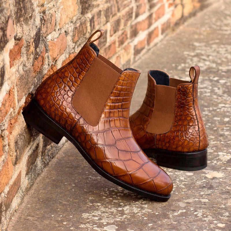Custom Made Goodyear Welted Chelsea Boot Classic in Medium Brown Genuine Alligator with Metal Toe Taps