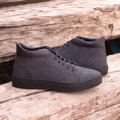 Custom Made High Top in Dark Grey Flannel and Black Croco