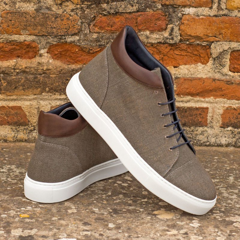 Custom Made High Top in Grey Linen with Dark Brown Painted Calf Leather