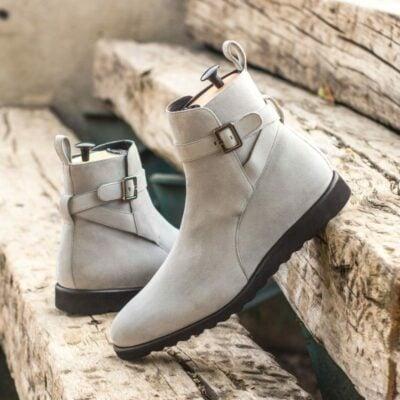 Custom Made Jodhpur Boot in Light Grey Kid Suede