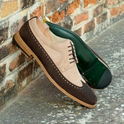 Custom Made Long Wingtip Blucher in Taupe and Brown Kid Suede