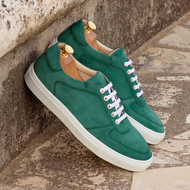 Custom Made Low Top Trainers in Forest Green Kid Suede