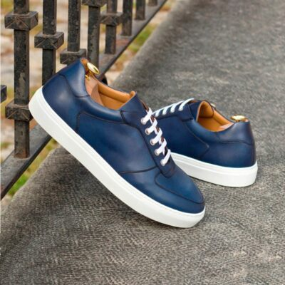 Custom Made Low Top Trainers in Navy Blue Box Calf