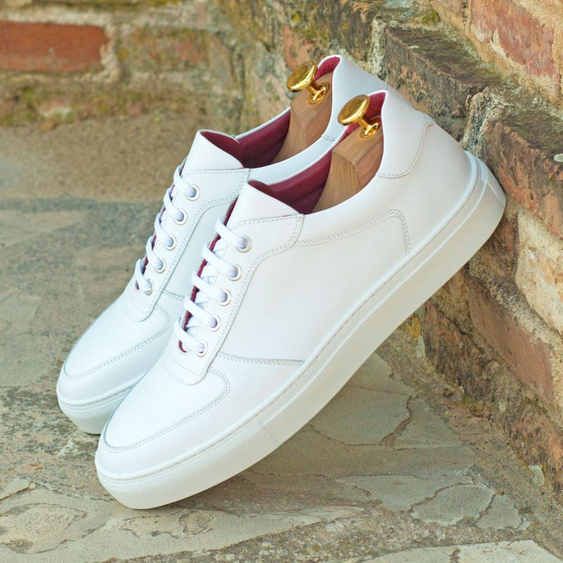 Custom Made Low Top Trainers in White Box Calf