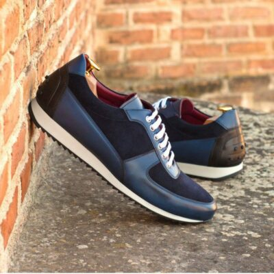 Custom Made Men's Corsini Jogger in Navy Blue Luxe Suede and Painted Calf Leather