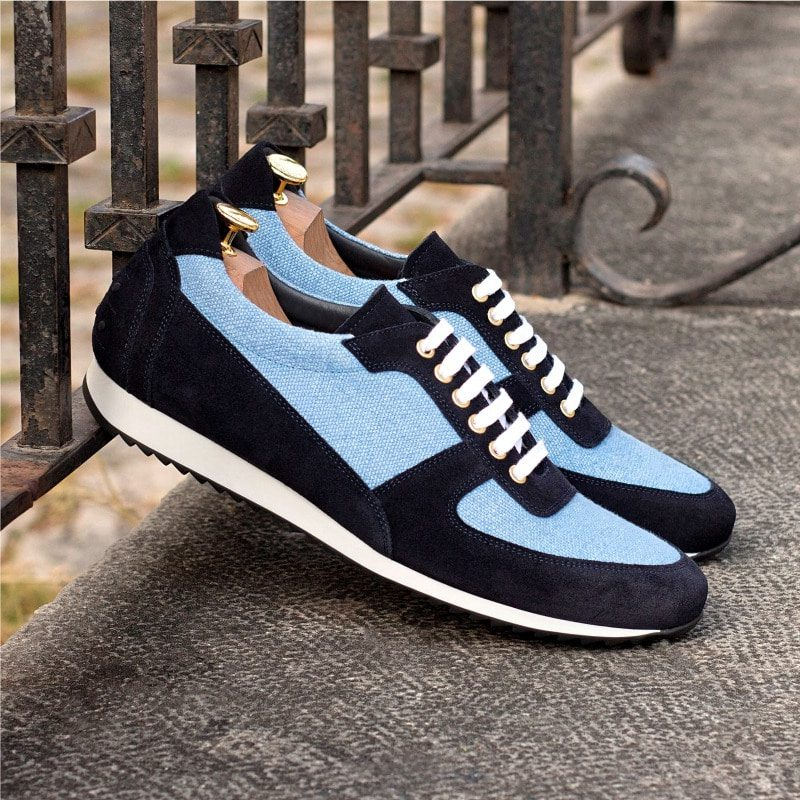 Custom Made Men's Corsini Jogger in Navy Blue Luxe Suede with Blue Linen