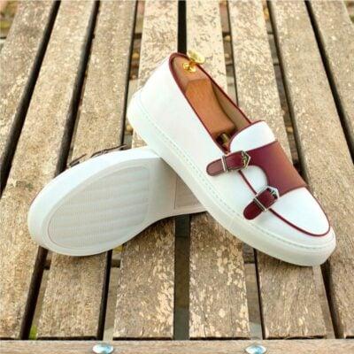 Custom Made Monk Sneakers in White and Burgundy Box Calf