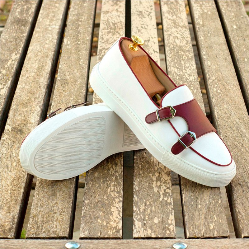 Custom Made Monk Sneakers in White and Burgundy Box Calf