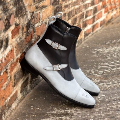 Custom Made Octavian Boot in Black Box Calf with Light Grey Kid Suede