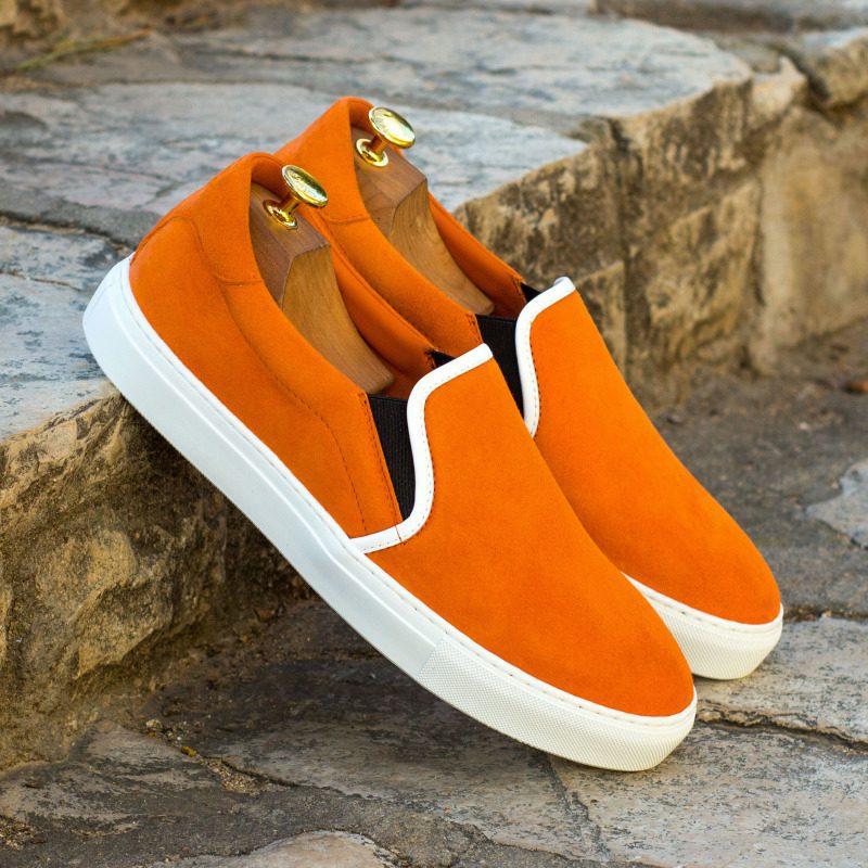 Custom Made Slip On in Orange Kid Suede with White Box Calf