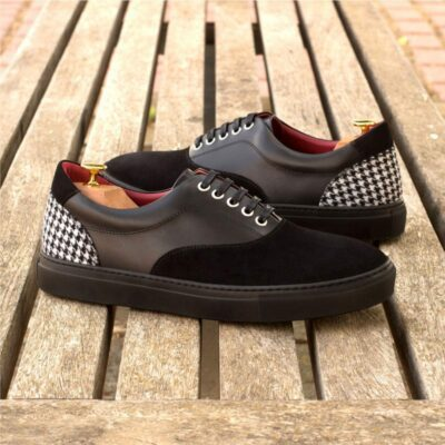 Custom Made Top Sider in Black Luxe Suede and Box Calf with Houndstooth