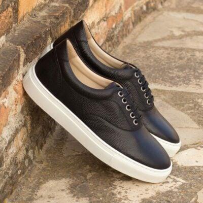 Custom Made Top Sider in Black Pebble Grain Leather