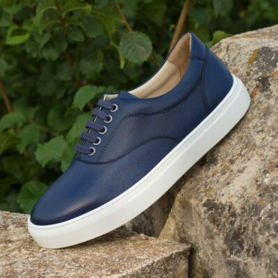 Custom Made Top Sider in Navy Blue Pebble Grain Leather