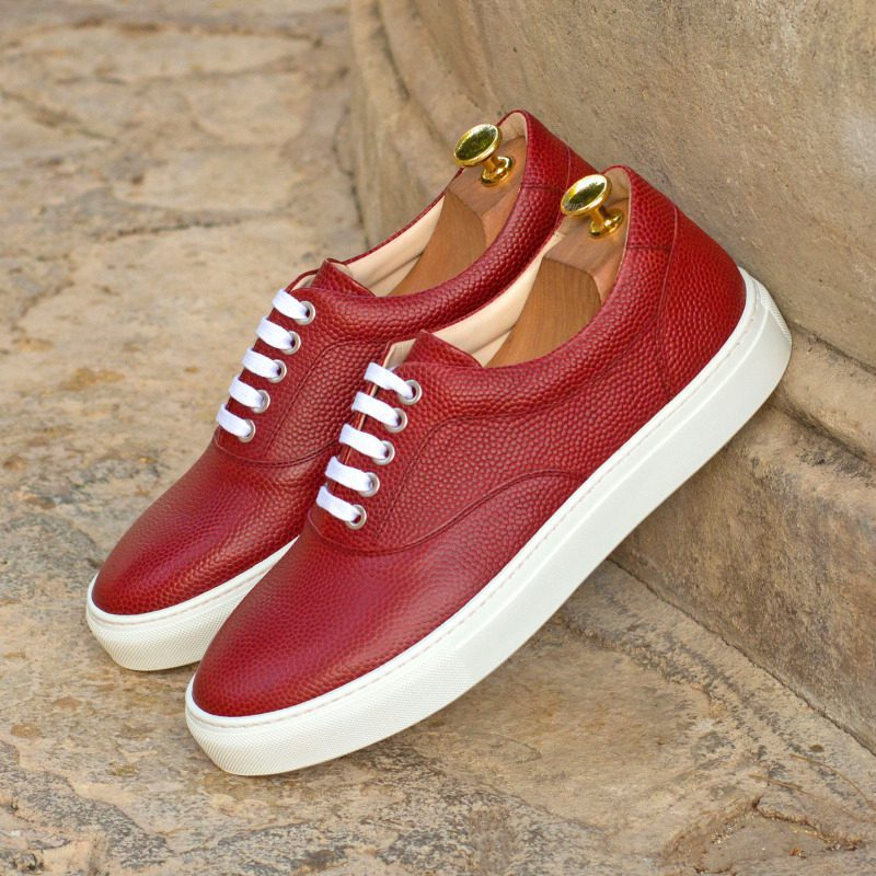 Custom Made Top Sider in Red Pebble Grain Leather