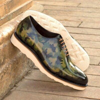 Custom Made Whole Cut Dress Shoes in Raw Crust Italian Leather with a Khaki Camo Hand Patina