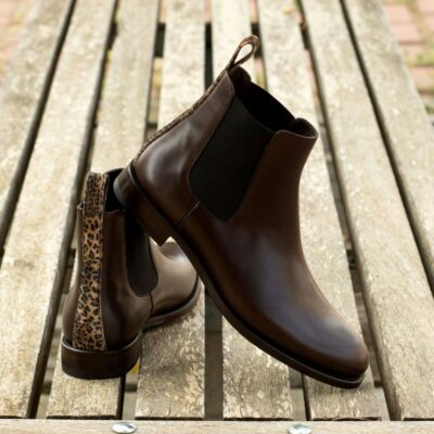 Custom Made Women's Chelsea Boot in Dark Brown Painted Calf with Leopard Print