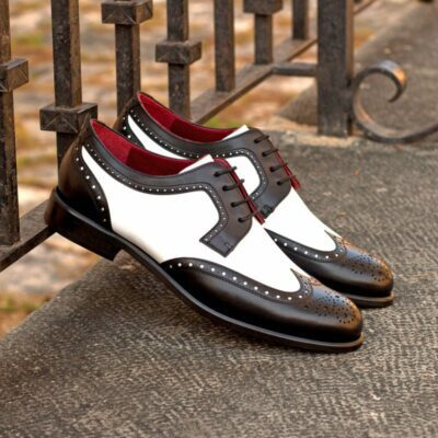 Custom Made Women's Derby Wingtip in Black and White Box Calf