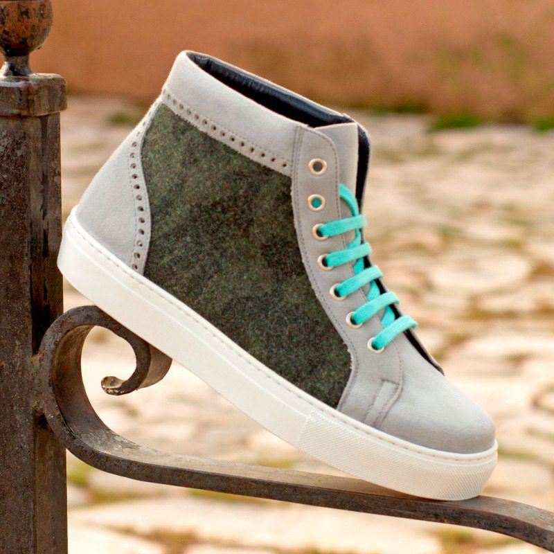 Custom Made Women's High Top in Light Grey Kid Suede and Camo Flannel