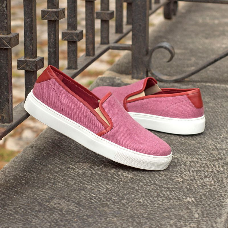 Custom Made Women's Slip On in Plum Linen with Red Painted Calf